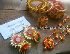 Gota jewellery set for mehndi Jewelry Sets, Diy Jewelry, Jewelery, Gota Patti Jewellery, Silk Thread Bangles Design, Fabric Earrings, Handmade Jewellery, Bridal Sets, Statement Jewelry