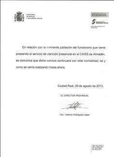 Exm. Ayuntamiento de Almadén, para tranquilidad de los ciudadados de Almadén y Comarca