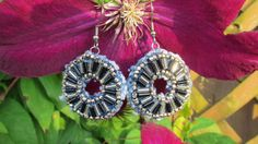Earrings Dangle  HandBeaded  Recycled Denim  by daringmisslassiter, $15.00