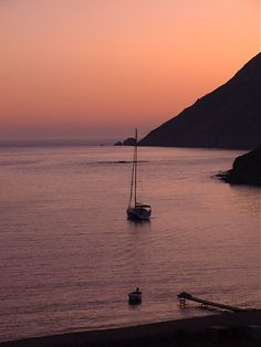 Sunset in Alikes, south end of Aegean island of Patmos, at the Stavros Bay. By Billy Psimmenos