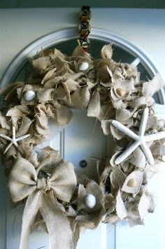 SHABBY PRIMITIVE shell starfish beach burlap item not available, but would make a fun project. Could use other items on wreath and colored burlap.