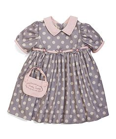 Bunnies by the Bay Pink & Gray Dotty Dress   zulily