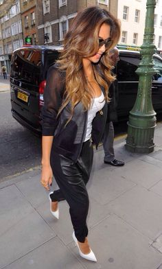 Nicole Sherzinger pulls this off so well. White heels + black leather pants
