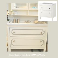 "O'verlays Kit for IKEA HEMNES 31.5"" Vanity Cabinet- put detail on plain furniture to upgrade it - lots of variety & kits-buy overlays here: www.myoverlays.com"