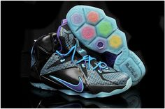 newest collection 93688 d6f0c Cheap Womens and Kids LeBron 12 Hyper Blue Grape Black Christmas Shoes