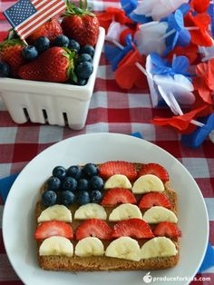 Get patriotic with your produce for Memorial Day, the Fourth of July or Veteran's Day. Use bananas, strawberries and blueberries to make a red, white and blue flag toast that's perfect for kiddos. Peanut allergy? Opt for sunbutter or soy butter for a nut-free alternative!