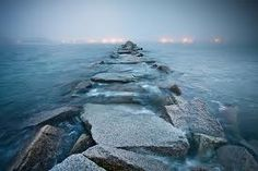 beautiful - jetty at Scituate Lighthouse in the fog