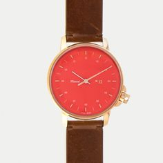 M12 Swiss Rose | Red on Leather Strap, Vintage Cognac // 39mm