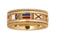 Initial Flag Band Ring. Available with diamond accents.