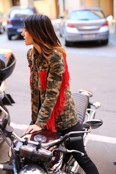 Red fringes military combo jacket; ss15 must have my wardrobe item / motorbike bike ride/ Harley Davidson