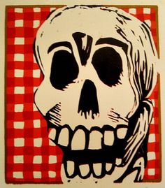 Skeleton, checker print, linocut