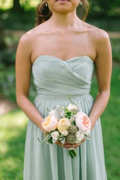 """Bridesmaids dresses: I asked them to choose a short style in silk chiffon from J. Crew, and they each chose a different one. The """"dusty shale"""" color coordinated perfectly with the peaches and yellows of the florals."""