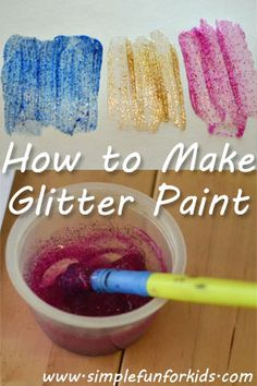 to Make Glitter Paint How to make beautiful glitter paint with three simple ingredients!How to make beautiful glitter paint with three simple ingredients! Glitter Paint Craft, Glitter Paint How To Make, Glitter Crafts, Glitter Art, Glitter Paint Preschool, Glitter Bomb, Glitter Cardstock, Glitter Glue, Silver Glitter