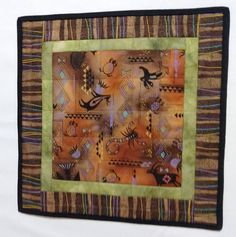 Quilted Brown Table Topper and Wall Hanging, Office Decor, Southwestern Art Quilt, Dresser Runner, G Fiber Art Quilts, Southwestern Art, Quilted Wall Hangings, Table Toppers, Square Quilt, Hostess Gifts, Office Decor, Dresser, Table Runners