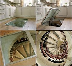 A kitchen trap door, leading to a huge underground wine cellar