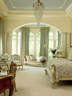 blue on ceiling and cream on walls. Gorgeous master