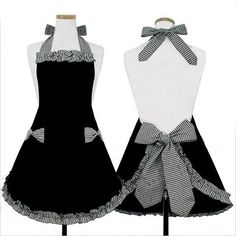 New Cute Vintage Womens Bowknot Kitchen Bib Apron Dress with Pocket Gift