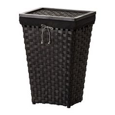 KNARRA Laundry basket with lining - IKEA.  This is so cute and adds a touch of decoration to the bath especially if you have oriental or black cabinets or frames, etc...