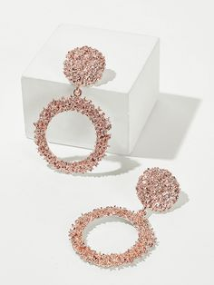 To find out about the Textured Hoop Drop Earrings at SHEIN, part of our latest Earrings ready to shop online today! Indian Jewelry Earrings, Indian Jewelry Sets, Jewelry Design Earrings, Gold Earrings Designs, Ear Jewelry, Cute Jewelry, Jewelry Accessories, Bling Jewelry, Women Accessories