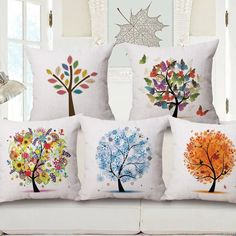 Fashion High Quality Cotton Linen African Plant Tree of Life Car Decorative Throw Pillow Case Cushion Cover Sofa Home Decor Sewing Pillow Patterns, Sewing Pillows, Cushion Covers, Pillow Covers, Sofa Home, Fabric Painting, Home Interior, Home Textile, Decorative Throw Pillows