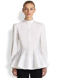 Alexander McQueen - Poplin Peplum Shirt - Saks.com