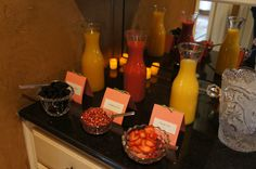 Shower/any party idea:  Mimosa bar.    Add orange juice, raspberry, or mango juice to the champagne...and/or add fruits like strawberries, pomegranate, or blackberries!