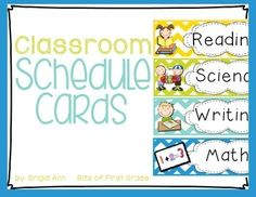 "These schedule cards match perfectly with my classroom cheveron decor packet!  Post these in the classroom to help your students visualize their schedule for the day.  It helps save you from answering the famous question of all, ""What are we doing next?""....The following schedule cards are included:ScienceWritingReadingMathSocial StudiesSpellingGrammarArtRecessLunchSpanishLibraryDaily 5HandwritingP.E.MusicGuided ReadingPhonemic AwarenessPhonicsPoetryWriter's WorkshopReader's…"