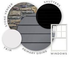 Dark Gray Siding, Black Shutters, White Trim Windows & Doors. Stone on chimney and front steps