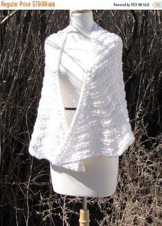 "SALE 20% OFF White Knit Shawl, Soft White Lace Shawl,  Old Shale Wedding Wrap, Summer White Shawl, Lacy White Soft Shawl, 29"" Long Lovely, R"