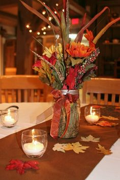 Country fall wedding table decorations Expressions by Carrie Photography