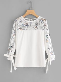 SheIn offers Contrast Lace Knot Cuff Blouse & more to fit your fashionable needs. Blouse Styles, Blouse Designs, Mode Outfits, Trendy Outfits, Girls Fashion Clothes, Girl Fashion, Hijab Fashion, Fashion Dresses, Fashion Sewing