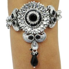 """Indian Woman Black Armlet Traditional Silver Tone Arm Bracelet Wedding Bridal Baju Band Jewelry IBA. $42.99. SIZE- Length: - 9.3"""" inch & 12.2""""Inch (with chain),Width: - 0.6"""" Inches; COLOR- Silver Tone and Black;. Indian Woman Black Armlet Traditional Silver Tone Arm Bracelet Wedding Bridal Baju Band Jewelry. SALE FOR - 1 Armlet; MATERIAL - Alloy; Arm Bracelets, Jewelry Bracelets, Jewellery, Jewellry Box, Toned Arms, Wedding Bracelet, Indian Jewelry, Bling Bling, 6 Inches"""