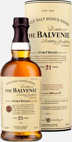 The Balvenie Portwood Finish 21 Year Old Single Malt Scotch Whisky Aged for 21 years in oak casks and finished in port casks, this whisky earned a score of 94.5 points from The Whisky Bible.