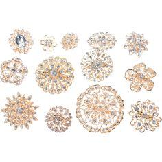 10 Piece Mixed Pack Gold and Clear Rhinestones Diamond Wedding Theme, Bling Wedding, Rhinestone Wedding, Gold Rhinestone, Rhinestones, Trendy Wedding, Wedding Stuff, Rhinestone Crafts, White Wedding Bouquets