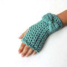 Crochet Fingerless gloves, fingerless mittens, Bow fingerless mittens, hand warmers, by JPwithlove