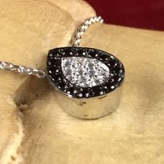 Black and White Sapphire Encrusted Rhodium Pendant Necklace N1453|We combine shipping|No Question Refunds|Bid $60 for free shipping. Starting at $1