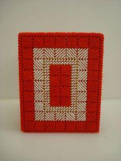Red/White Plastic Canvas tissue box cover