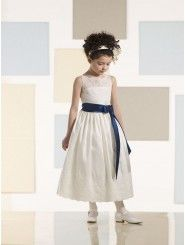 Tea-length A-line Taffeta Lace Overlay Illusion Bodice Scalloped Sabrina Neckline Flower Girl Dress (JC210356)