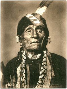 Wah-shun-gah, principal chief of the Kansas in the 1880's after the tribe was forced to move to Indian Territory in 1873. This photograph may have been taken by C. M. Bell in Washington about 1880.