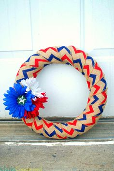 **Five Minute Wreath** This burlap Fourth of July wreath is so easy and is so cute! Even the least crafty person will be able to make it. Perfect for Fourth of July, Memorial Day, etc.