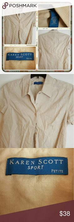 ❤ Woman's Tan Button Down Shirt Size MP ❤ Woman's Button Down Shirt By Karen Scott Size Is MP In A Pretty Tan Color. This Is In Great Pre Loved Condition. I'm Selling For A Friend 🚫 PAYPAL 🚫 TRADES 🚫 LOWBALLING THANK YOU ❤ Karen Scott Tops Button Down Shirts