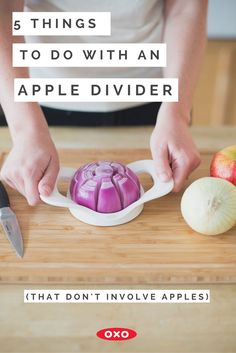 Onions for kebabs Mozzarella for pasta What about potatoes for steak fries Check out all of the cool things you can do with an OXO Apple Divider! is part of Baking tips - Cooking 101, Cooking Recipes, Healthy Recipes, Cooking Hacks, Bulk Cooking, Cooking Steak, Savoury Recipes, Cooking Videos, Fruit Recipes
