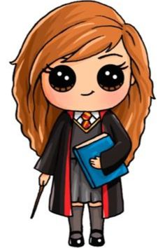 Harry Potter Hermione Draw So Cute Kawaii Girl Drawings, Cute Girl Drawing, Disney Drawings, Cute Drawings, Drawing Pin, Drawing Ideas, Draw So Cute Girl, Draw So Cute People, Cute Drawing Images