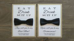 Will You Be My Groomsman card, Bow Tie, Bridal Party by PurpleandPlatinum on Etsy https://www.etsy.com/listing/244870045/will-you-be-my-groomsman-card-bow-tie