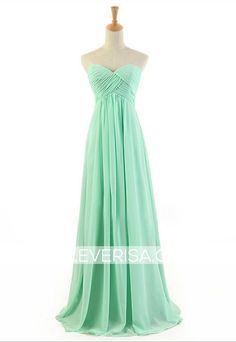 Simple mint green A-Line/princess Sweetheart Floor Length chiffon prom dresses with ruffle  -  $95.00 Form https://www.everisa.com/simple-mint-green-a-line-princess-sweetheart-floor-length-chiffon-prom-dresses-with-ruffle