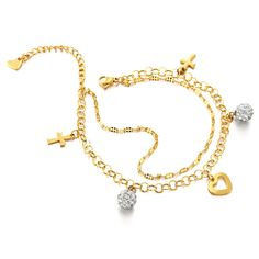 Stainless Steel Gold Color Anklet Bracelet with Dangling Charms of Cross, Cubic Zirconia and Heart *** Click image to review more details. (As an Amazon Associate I earn from qualifying purchases) Bow Jewelry, Anklet Jewelry, Fashion Jewelry, Foot Bracelet, Anklet Bracelet, Beach Anklets, Toe Rings, Metal Chain, Dangles