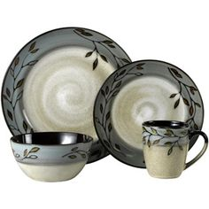 I think I want a new Pfaltzgraff pattern. The set at Walmart has the round cereal bowl. Pfaltzgraff.com has the fancier one I don't like as much.  Easier to drink milk from plain round one. :)  (Walmart calls this pattern Pastoral Leaves, Pfaltzgraff.com calls it Rustic Leaves)  Pfaltzgraff Studio Pastoral Leaves 16-Piece Dinnerware Set, Gray