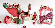 Trineo de cartón para Papá Noel con mini álbum de scrapbooking y regalitos DIY. Ideas Scrapbooking, Blog, Christmas Ornaments, Holiday Decor, Diy, Crafts, Card Tutorials, Lead Sled, Papa Noel