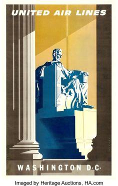 "Movie Posters:Miscellaneous, Washington D.C. United Airlines (United Airlines, c. 1950s). TravelPoster (25"" X 40"") Joseph Binder Artwork.. ..."