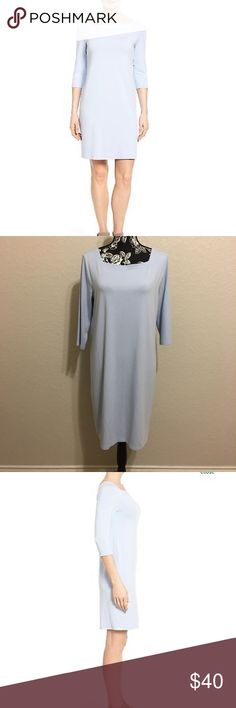 "Eileen Fisher square neck jersey shift dress In GOOD CONDITION NO STAINS NO HOLES! Highlighting the collarbone, a feminine square neckline tops an elegantly simple shift dress cut from refined stretch jersey with three-quarter sleeves. Square neck. Three-quarter sleeves. 92% viscose, 8% spandex. Machine wash cold, line dry. Measurements are Bust 20"" Length 37"" Eileen Fisher Dresses"